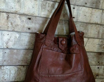Brown Handbag created from recycled leather!