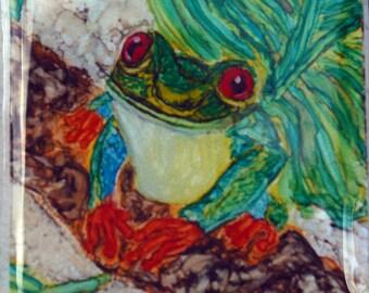 Ceramic Tile Magnet - Happy Frog