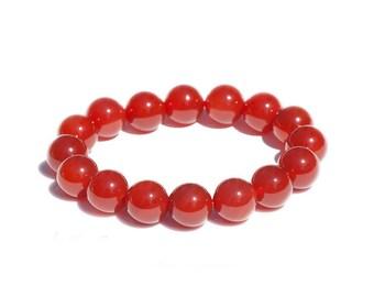 Red Brazilian Agate Bracelet / Genuine Gemstones / Beaded Jewelry