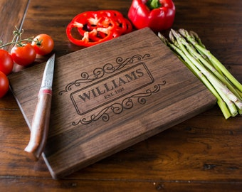 Custom Engraved Cutting Board, Personalized Cutting Board, Monogram, Wedding Gift, Anniversary, Bridal Shower Gift, Kitchen Decor #3007