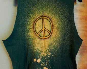 Green, unique, handcrafted hippie style top with peace sign size M-L