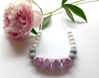 GEOMETRIC Lilac Silicone Teething Necklace - Teething Necklace, Nursing Necklace, BPA free, Organic, Eco-friendly, Baby Shower Gift
