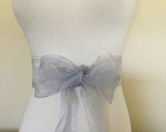 Silver organza  sash. 2.75 inch wide. Silver  Nylon organza sash. Bridal sash. Simple sash. Bridesmaid sash
