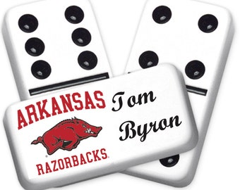 University of Arkansas Razorbacks Custom Personalized Licensed Dominoes Set