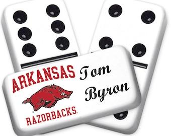 University of Arkansas Razorbacks Custom Personalized Licensed Dominoes Set
