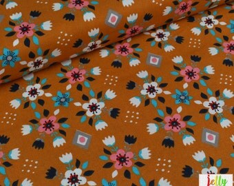 30% OFF - ORGANIC Cotton Fabric - Flowerbed in Orange from Wildland Collection by Birch Fabrics - UK Seller