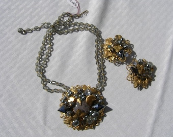 Matching Pendant Necklace and Clip-On Earrings