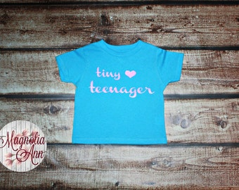 Tiny Teenager Heart Toddler T-shirt in Aqua & White in Sizes 2T-5/6