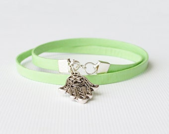 green leather wrap bracelet,personalised bracelet, fatima hand, boho chic rocker style, mens leather bracelet, gift for him, gift for her