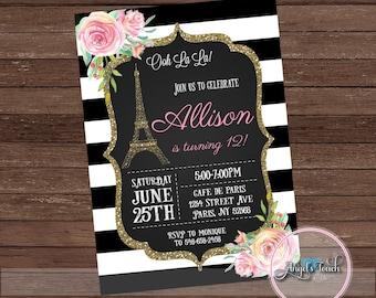Paris Party Invitation, Paris Birthday Party Invitation, French Party Invitation, Paris Invitation, Eiffel Tower Invitation, Digital File.