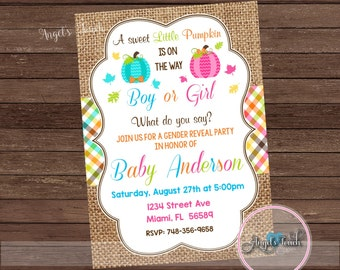 Pumpkin Gender Reveal Invitation. Pumpkin  Gender Reveal Party Invitation, Pumpkins Gender Reveal Invitation, Digital File