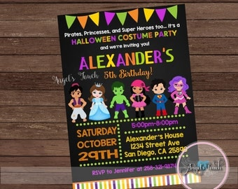 Halloween Party Invitation, Halloween Birthday Invitation Chalk, Halloween Costume Party Invitation, Halloween Invitation, Digital File