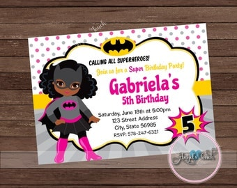 Bat Girl Party Invitation, African American Batgirl Invitation, Pink Batgirl African American Birthday Invitation, Bat Girl, Digital File
