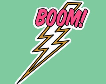 Boom Lightning Bolt Vinyl Sticker Decal Cool Punk