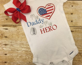 My Daddy is my Hero onesie, 4th of July, Baby Shower Gift