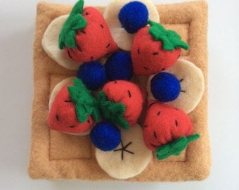 Felt Waffles with strawberries, blueberries and banana slices - play with your food