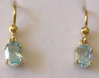 Genuine SOLID 9K 9ct YELLOW GOLD March Birthstone Aquamarine Earrings