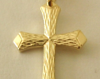 Genuine SOLID 9ct YELLOW GOLD Cross charm pendant
