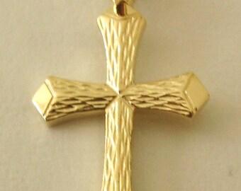 Genuine SOLID 9ct YELLOW GOLD Cross charm pendant