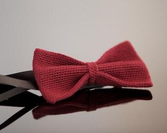 crochet bow tie 100% silk, Bordeaux