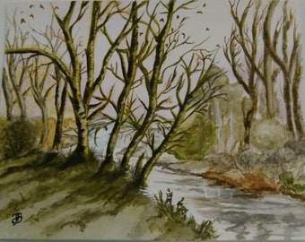 "Table Watercolour ""River under a Glade"""
