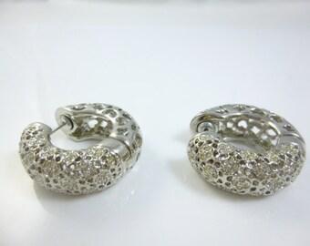 Silver Hoop Earrings, Crystal Hoop Earrings, Chunky Hoop Earrings, Chunky Earrings, Vintage