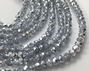1Full Strand Silver Crystal Rondelle Beads, 4*3mm Faceted Crystal Glass Beads For Jewelry Making