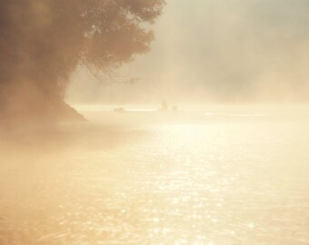 Early morning Photo, Sunrise Wall Art, Golden Lake Photo, Foggy Wall Art, Dawn print