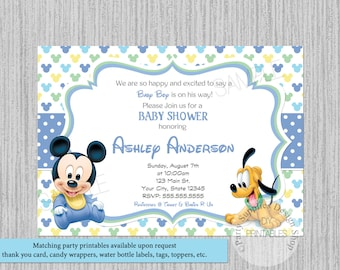 Disney Baby Mickey Mouse Baby Shower Invitations, Mickey Baby Shower  Invitations, Baby Mickey Pluto