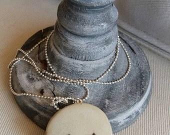 """The moon"" glazed ceramic necklace"
