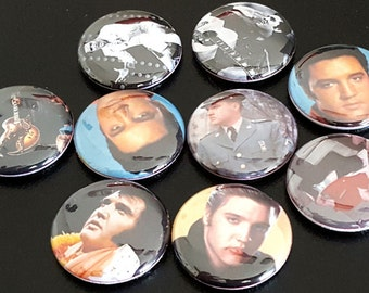 "9 Elvis Presley 1"" Buttons/Pinbacks/Badges King of Rock and Roll Elvis Rare"