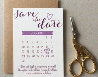 Purple Calendar Save the Date with banner and heart detail