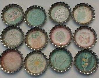 Owl and Floral Bottle Cap Magnets