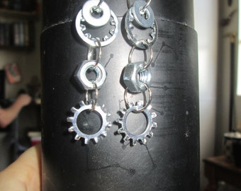 hex nut industrial earrings