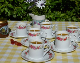 Two Coffee Cups and Saucers  Beeswax Candles