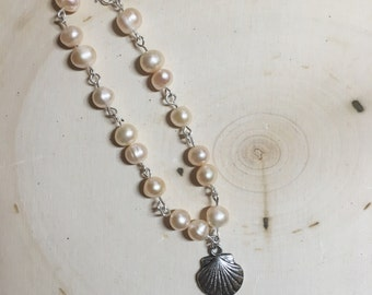 Pink Pearl and Shell Bracelet