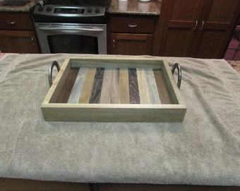 Rustic serving tray with horse shoe handles