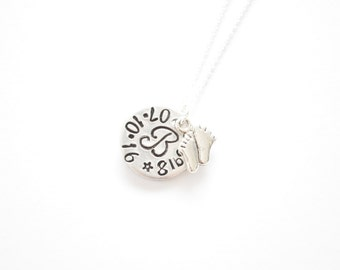 sterling silver necklace, with hand stamped charm/plaque