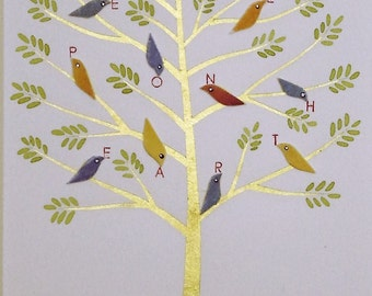peace on earth painting/tree of life painting/art with words/tree with birds painting/cut paper artwork/cut paper painting/