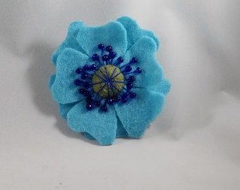 Blue Flower Hair Barrette