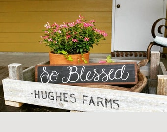 So Blessed Chalkboard Wood Sign