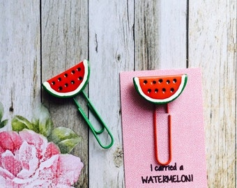 Watermelon Paper Clip / Planner Clip/ Planner Accessory / Paperclip  / Resin Paper Clip
