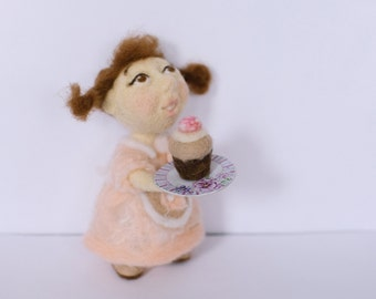 Needle Felted.  Gifts.  Felt doll.  Handmade toys. Interior doll. Collectible doll