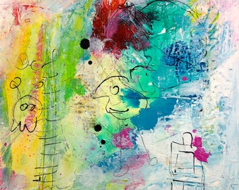 "Acrylic on canvas ""Asteroid B 614"" 20 x 20"