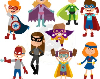Cartoon Superhero Clipart,superhero Kids,superhero clipart,digital download