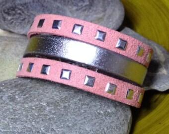 Bracelet leather cuff Pink/Silver