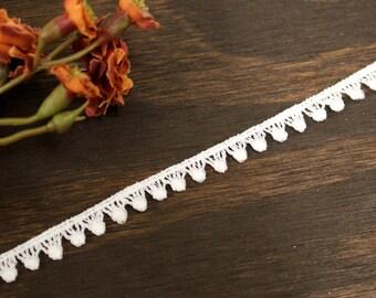 White lace trim w/ tiny pompoms, diy choker necklace, bridal veil, headbands, home decor, children clothing. (LC20023)