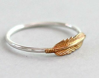 Silver and Gold 'Light as a Feather' Ring