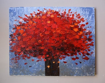 red flower painting,Acrylic painting,modean painting,original painting,room  decoration,thick texture,red,flower painting