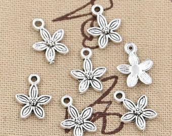 18 Flower Charms Antique Silver Floral Charms Little Flower Charm Charm Bracelet Bangle Bracelet Charm Pendants #732